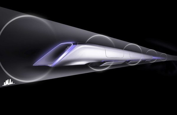 """Sketch of proposed """"Hyperloop"""" transport system proposed by billionaire Elon Musk"""