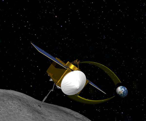 Концепция художника, корабля OSIRIS-Rex собирающего образцы из астероида 1999 RQ36.